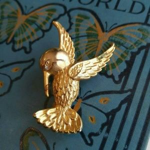 Vintage hummingbird brooch pin rhinestone eye gold